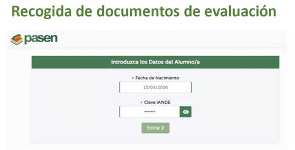RECOGIDA DE DOCUMENTOS DE EVALUACIÓN