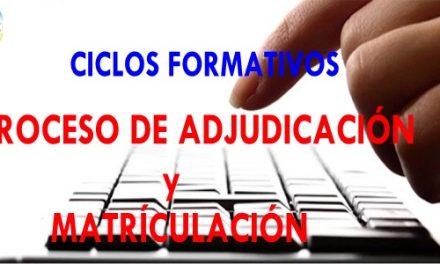 PRIMERA ADJUDICACIÓN DE ADMITIDOS A CICLOS FORMATIVOS DE GRADO MEDIO Y SUPERIOR
